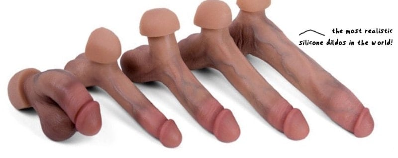 five different size realistic dildos