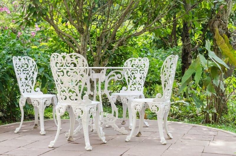 CLEAN WHITE BACKYARD WROUGHT IRON PATIO FURNITURE IDEAS