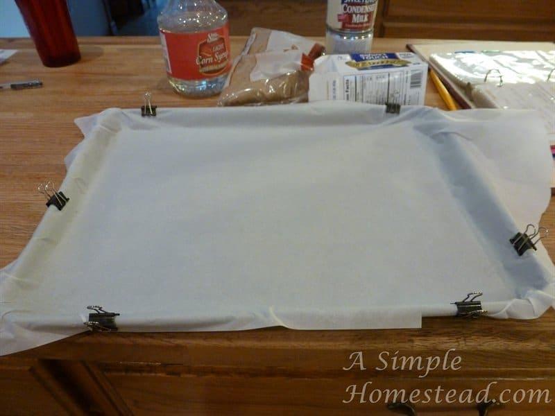 caramels - jelly rolls pan prep