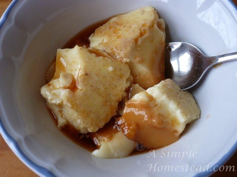 caramel custard in a bowl
