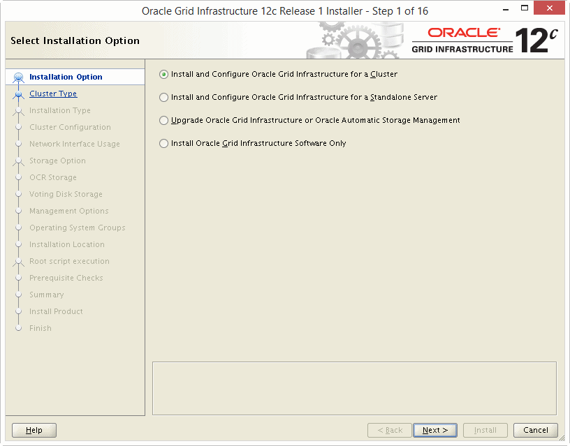 Install Oracle 12c Grid Infrastructure 01