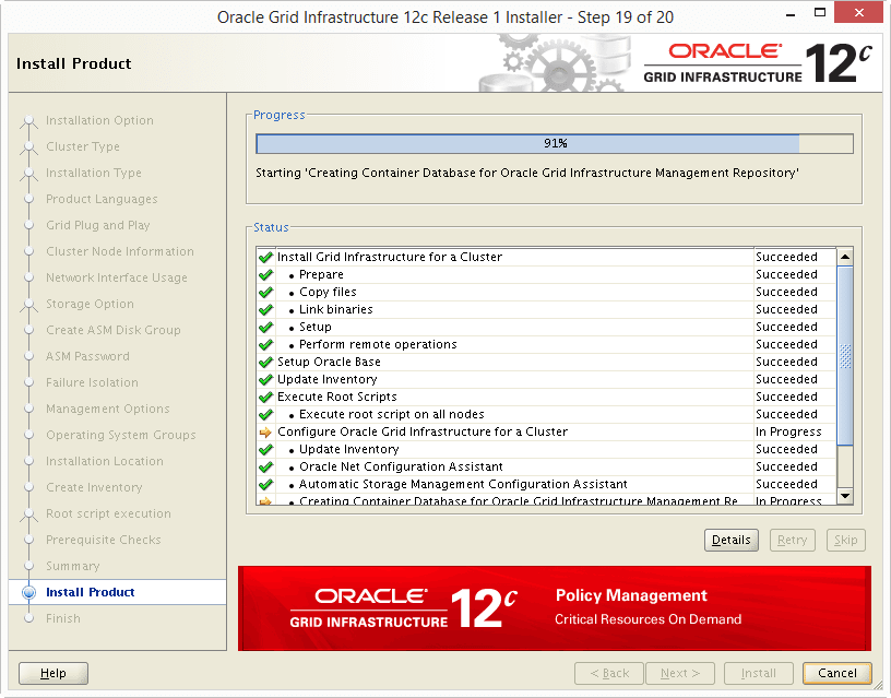 Install Oracle 12c Grid Infrastructure 20-02