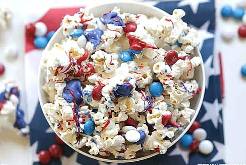Patriotic White Chocolate Popcorn