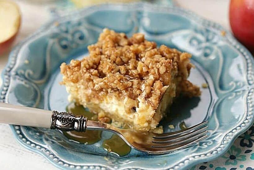 Apple Caramel Walnut Cheesecake Bars