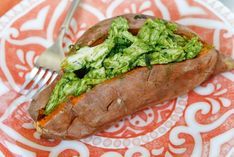 Enjoy a dairy-free and flavorful dish when preparing the Pesto Chicken Stuffed Sweet Potatoes. You can prepare this Whole 30 recipe in less than two hours. You will love how easy this sweet potato recipe is to make.