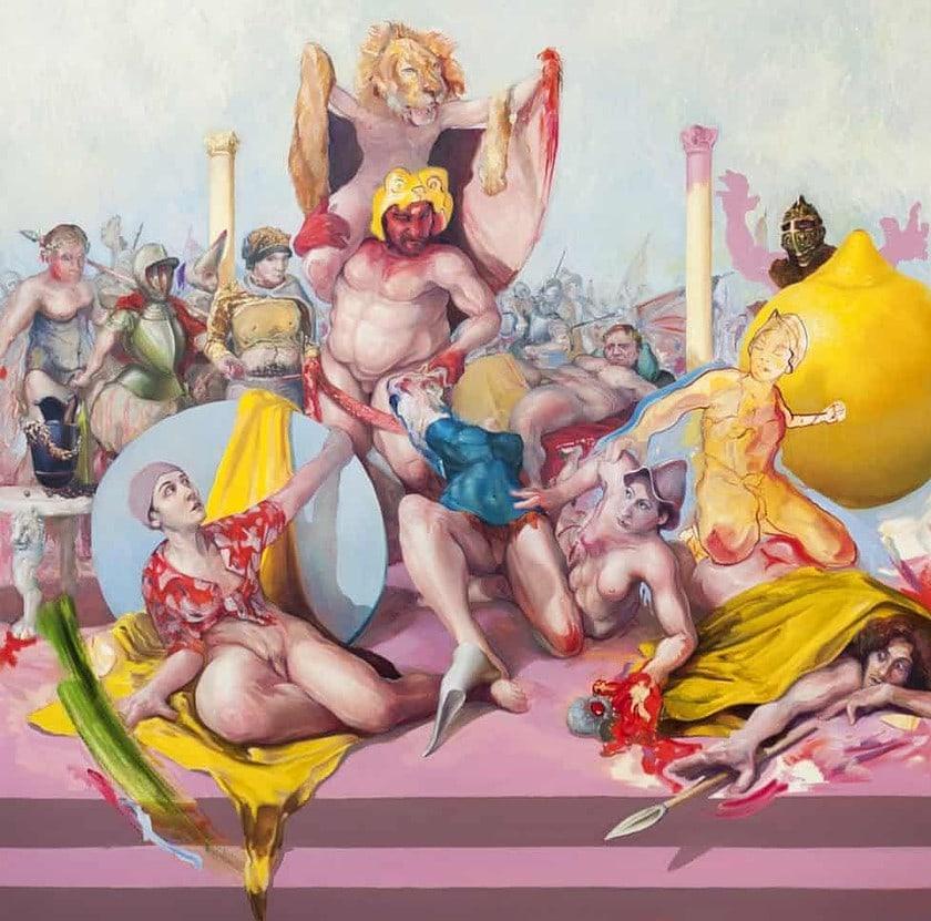Enzo Certa - Forçar o vício Artes & contextos Heliogabale et ses amours ou le grand citron – huile sur toile – 2019 – 185 x 185cm