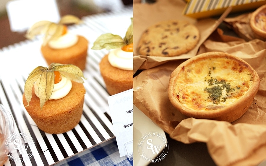 Vegan cakes and little quiches and tarts.