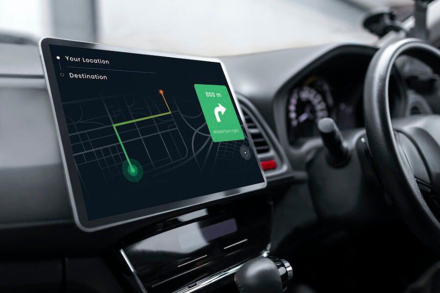 GPS screen on dashboard of a car