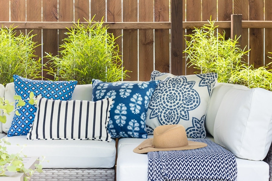 outdoor blue and white pillows