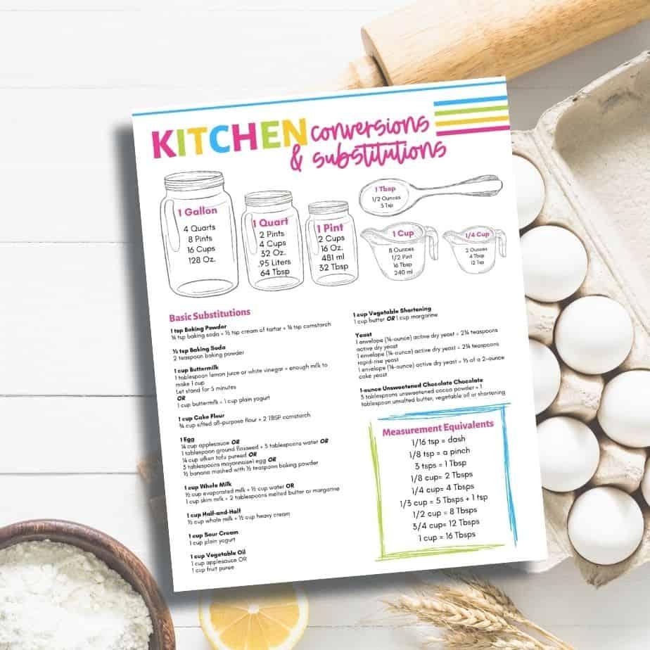 free printables kitchen conversion chart