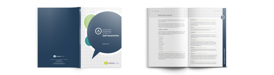 Image shows cover and internal spread of Training Central's self-awareness learning materials