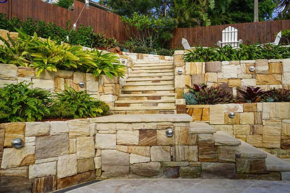 sandstone garden wall