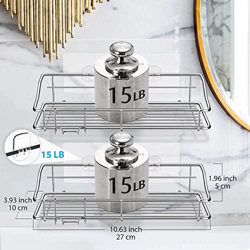 Nieifi Badezimmer-Regal mit Kleber ohne Bohren Edelstahl Wandmontage für Waschküche, Toilette, Dusche, Küche, 2 Stück - 2