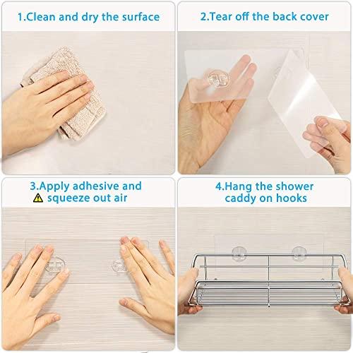 Nieifi Badezimmer-Regal mit Kleber ohne Bohren Edelstahl Wandmontage für Waschküche, Toilette, Dusche, Küche, 2 Stück - 5