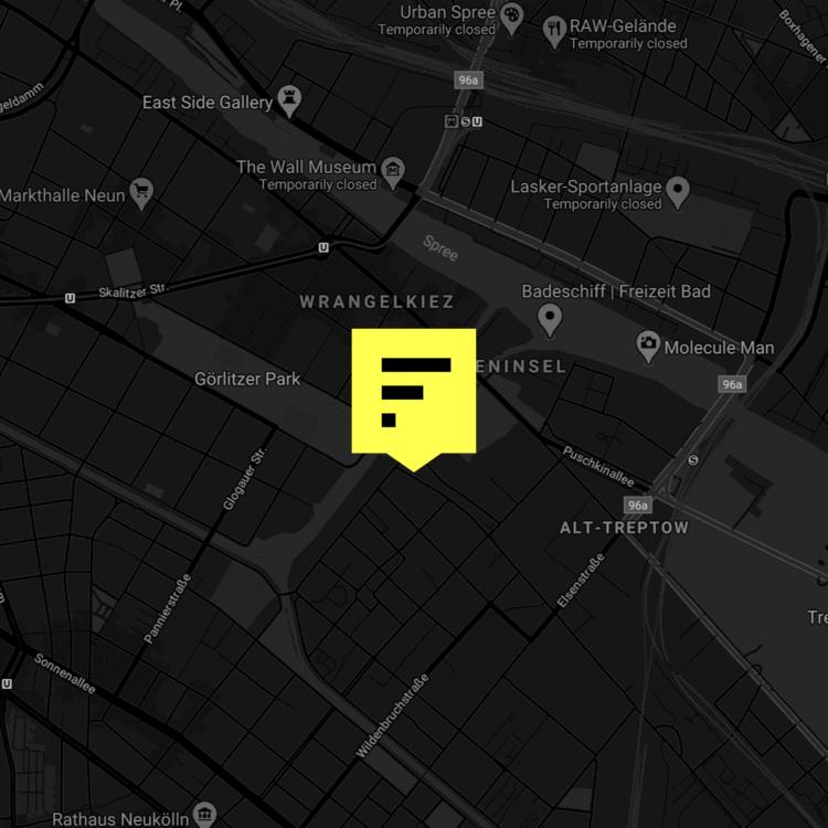 A map of the location of Factory Berlin Görlitzer Park.