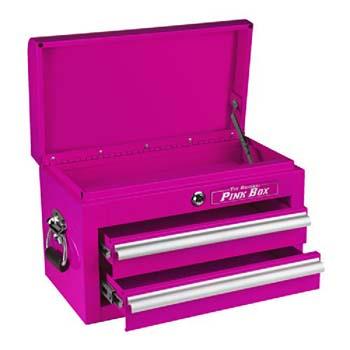 3. The Original Pink Box PB218MC 18-Inch 2-Drawer 18G Steel Mini Storage Chest w/Lid Compartment, Pink