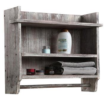 3. MyGift Wall Mounter Torched Wood Bathroom Organizer