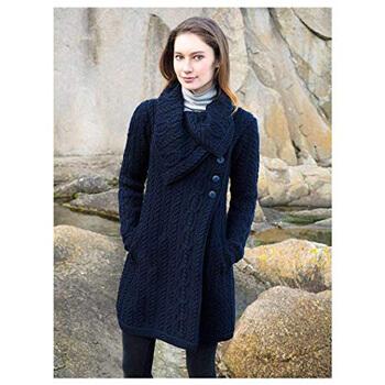 8. 100% Merino Wool Aran Crafts Ladies 3 Button Long Cardigan Navy