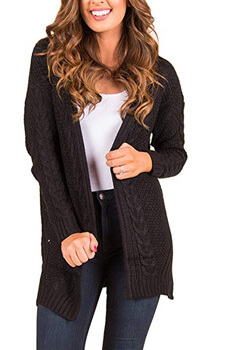 10. Women Open Front Artificial Wool Cotton Blending Cable Knit Cardigan