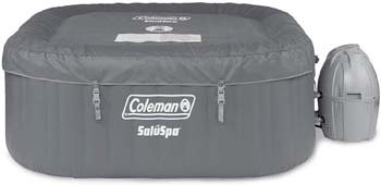 10: Coleman SaluSpa 4 Person Portable Square Bubble AirJet Technology Inflatable Outdoor Hot Tub Spa