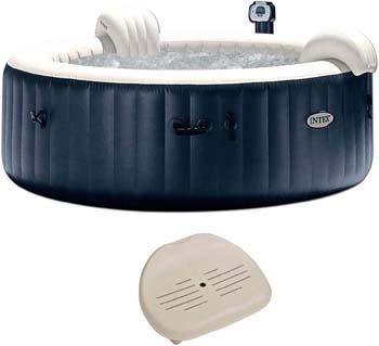 7: Intex Pure Spa Inflatable 6 Person Outdoor Bubble Hot Tub + Non-Slip Seat Insert
