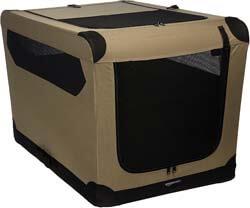 1. AmazonBasics Portable Folding Soft Dog Travel Crate Kennel