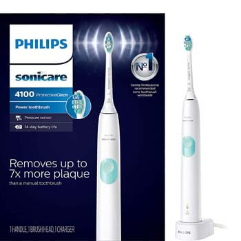 1. Philips Sonicare HX6817/01 ProtectiveClean 4100 Rechargeable Electric Toothbrush, White