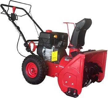 10. PowerSmart DB7622H Gas Snow Thrower, red, Black