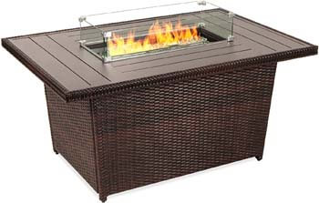 6. Best Choice Products 52-inch 50,000 BTU Outdoor Wicker Patio Propane Gas Fire Pit