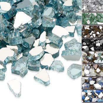 4. QuliMetal 1/2 Inch Fire Glass, Aqua Blue High Luster Reflective Tempered Glass