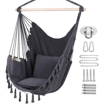 9. Y- STOP Hammock Chair Hanging Rope Swing, Max 330 Lbs, 2 Cushions Included