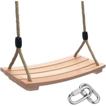 8. FASPUP Wood Swing Seat with Adjustable Hemp Rope