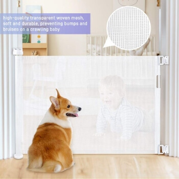 6. Retractable Baby Gate, OTTOLIVES Mesh Safety Gate for Babies and Pets, Flexible Gate (White)
