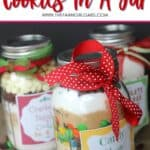 Cookies in a Jar make the perfect gift. Click here for three easy recipes that you can give any time of the year. This is an easy Mason Jar Gift idea. This homemade food gift is perfect to make for the holiday season. Cookies in a Jar make a great Christmas gift idea. Grab some jars and make some of these mason jar gifts to give to family, friends and teachers. Everyone will love receiving this easy homemade Christmas craft.