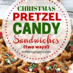 Christmas Rolo Pretzel Candy Sandwiches - Two Ways! A little bit sweet, a little bit salty and oh so good! These pretzel candy sandwiches are a sweet treat. These Rolo pretzel sandwiches can be enjoyed all year long. Add your favorite sprinkles or top this easy dessert recipe with M&Ms. You will enjoy this simple candy treat. These are perfect Christmas treat recipe for a Christmas Cookie Exchange too.