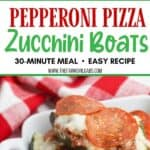 This Stuffed Pizza Zucchini Boats recipe is a perfect low carb dinner option or side dish. This easy zucchini recipe is perfect for summer. Try this zucchini boats recipe for an easy weeknight meal idea. This 30-minute meal idea is easy and delicious.