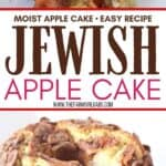 This Jewish Apple Cake recipe is moist and packed with sweet apples and cinnamon. This easy apple cake has a crunchy apple cinnamon topping. Be sure to grab a slice before it's all gone. This Jewish Apple Cake recipe is moist and packed with sweet apples and cinnamon. This easy apple cake recipe is our family's favorite and is a delicious apple cake that taste's just like fall.