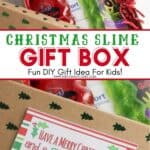 Kids will love receiving this easy Christmas Slime In A Box Gift Idea. This fun DIY Christmas gift takes minutes to put together.