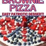 This Star-Spangled Brownie Pizza is perfect for any patriotic celebration. Bring this easy red, white and blue dessert recipe to your July 4th picnic. Your guests will love this decadent chocolate brownie recipe.
