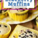 It's blueberry season on the farm! Sweet farm-fresh blueberries and tart lemons pair up for these delicious Lemon Blueberry Muffins. This easy recipe is perfect for breakfast or dessert. This is the best breakfast to make ahead and grab on a busy morning. This easy muffin recipe is made with sour cream and makes moist, homemade bakery-style muffins.