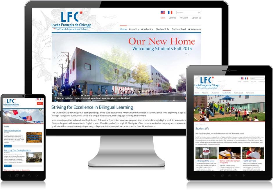 Screenshot of website for Lycée Français de Chicago