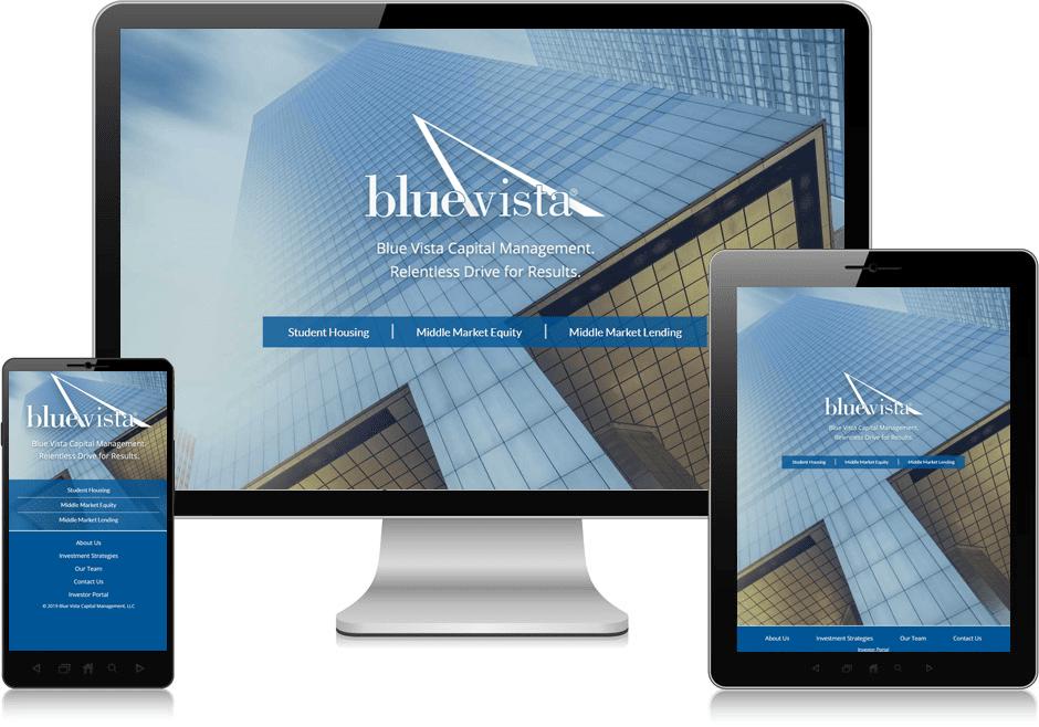 Screenshot of website for Blue Vista Capital Management