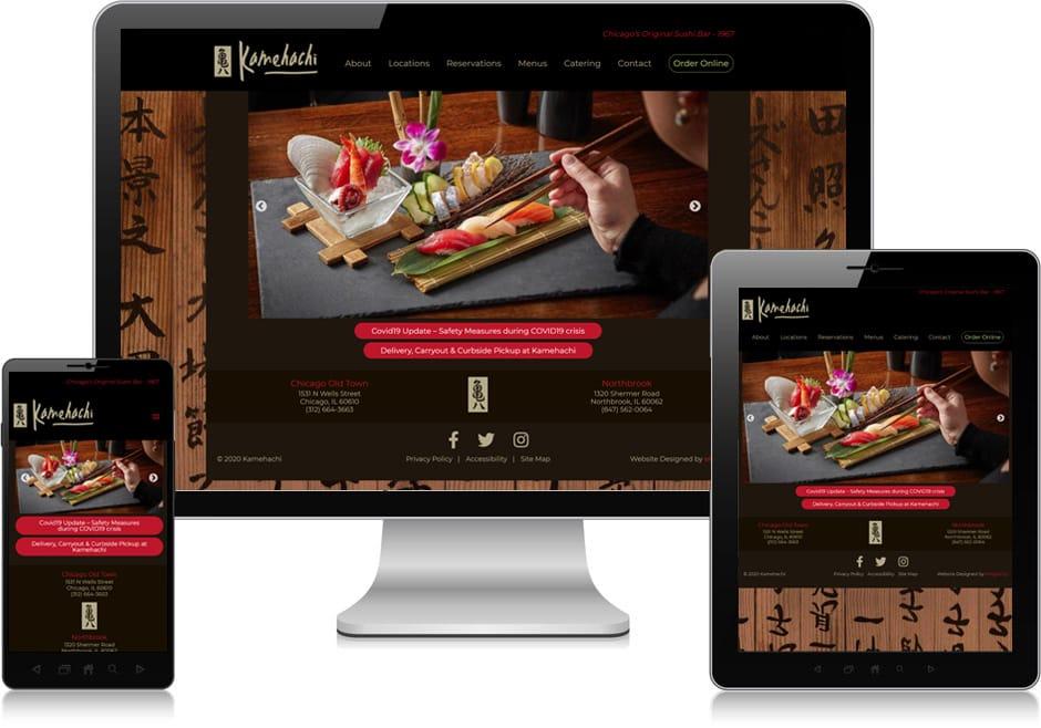 Screenshot of website for Kamehachi