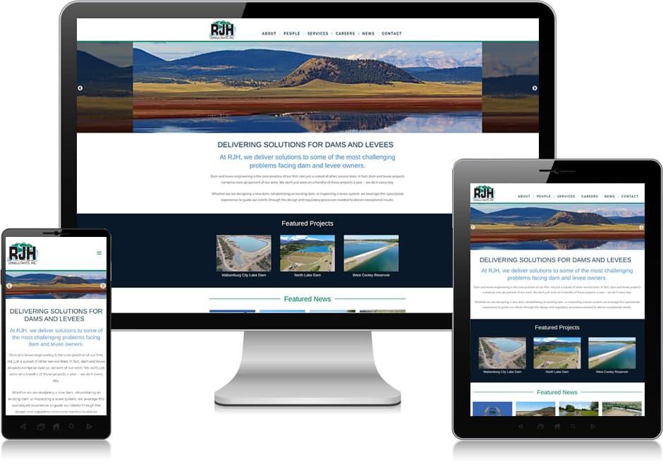 Screenshot of website for RJH Consultants