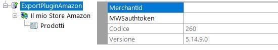 Step 1 - Inseriamo il MerchantId fornito da Amazon e il token di autenticazione MWS
