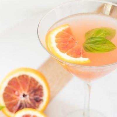 Blood Orange Elderflower Basil Martini