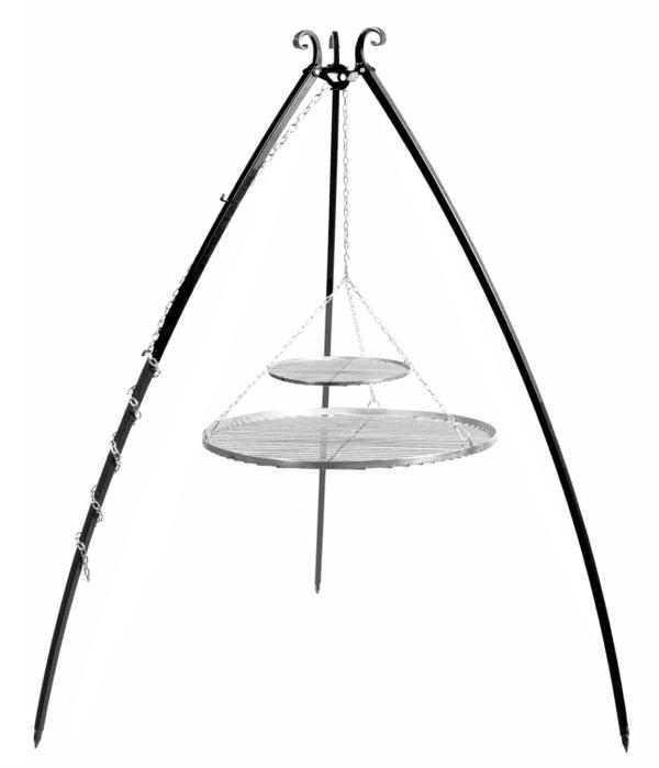 Driepoot 200 cm met dubbel RVS grillrooster 70+40 cm