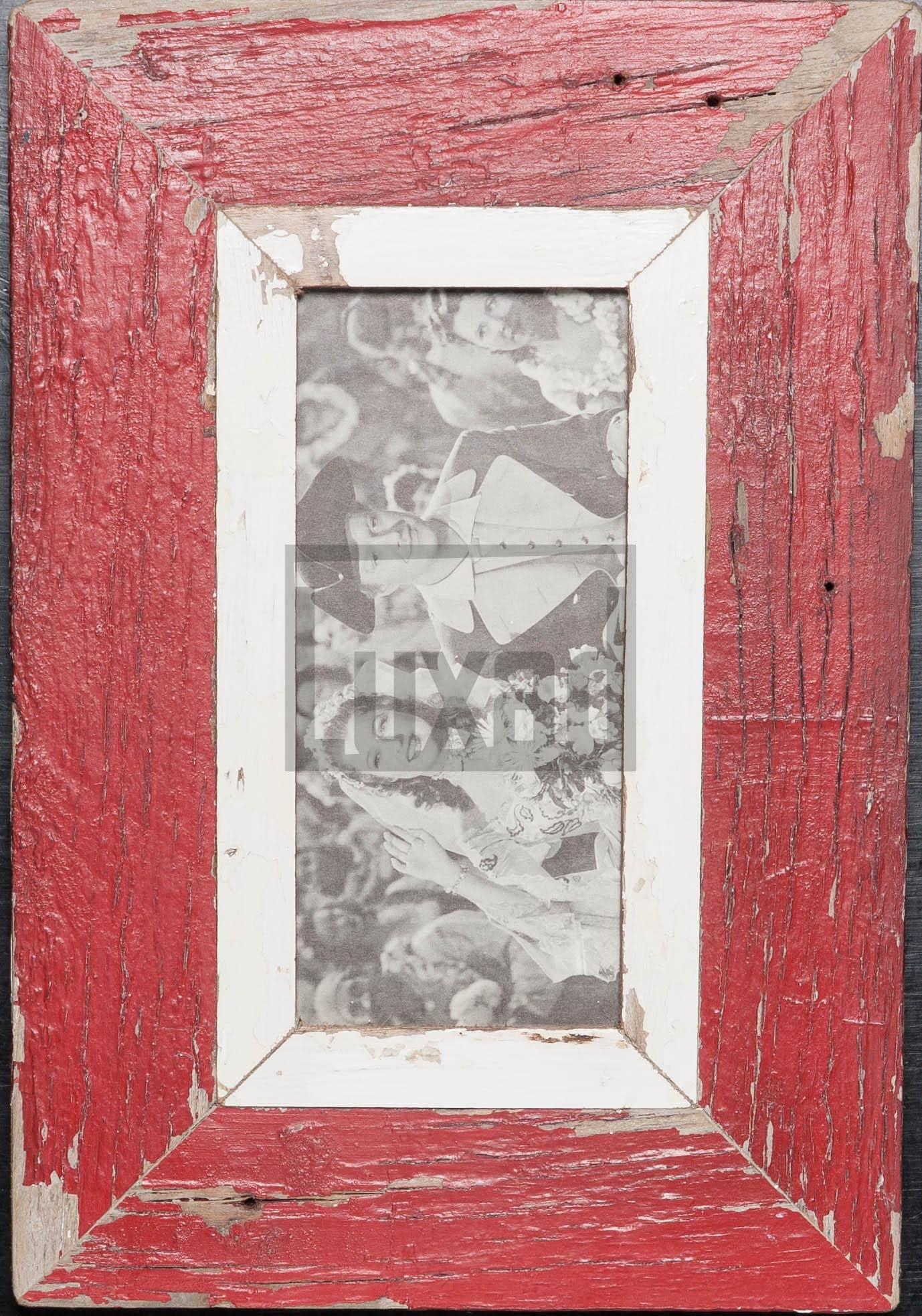 Roter Panorama-Bilderrahmen aus recyceltem Holz für Fotos ca. 10,5 x 29,7 cm