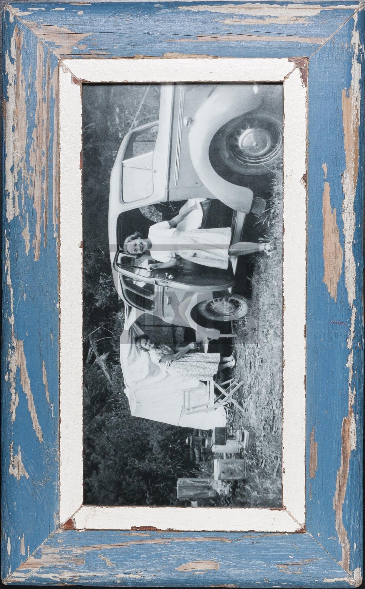 Blauer Panorama-Bilderrahmen für Fotos ca. 21 x 42 cm