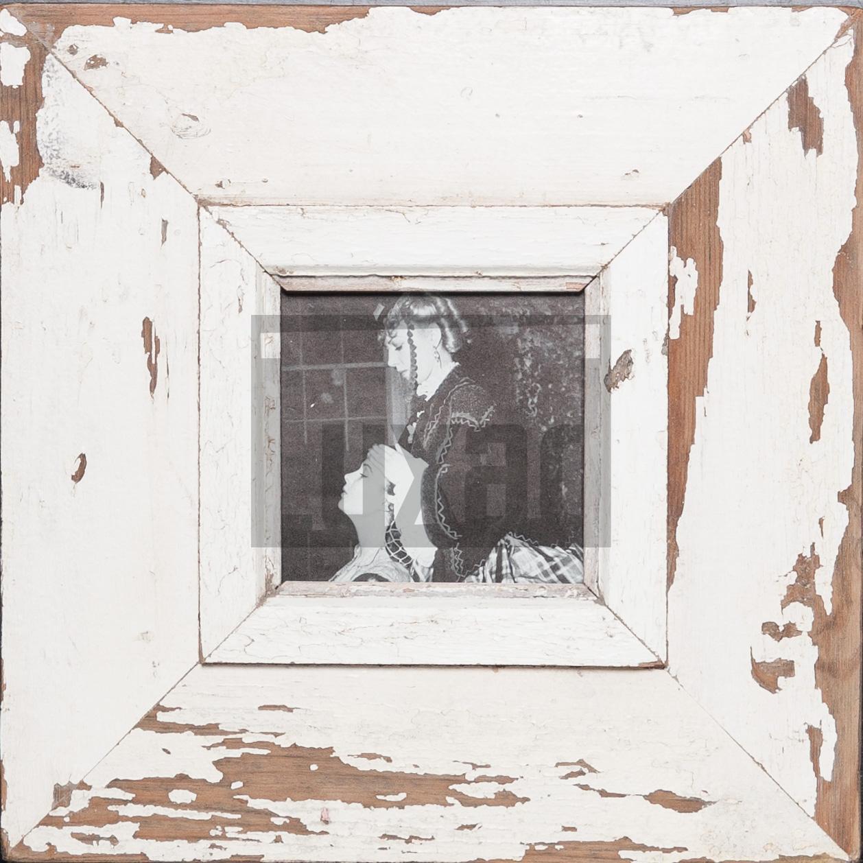 Quadratischer Bilderrahmen aus alten Holzleisten für ca. 10,5 x 10,5 cm